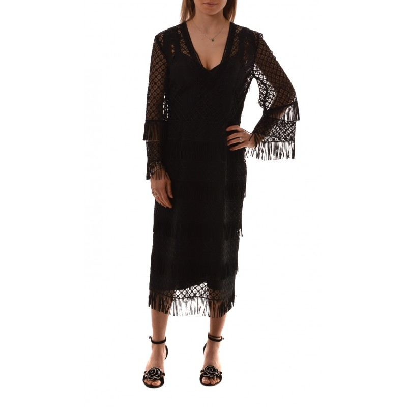 Alberta Ferretti -  MIDI dress in Macramé with fringe - Black