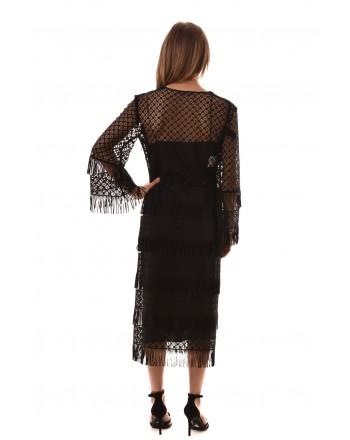 Alberta Ferretti -  MIDI dress in Macramé with fringe - Black