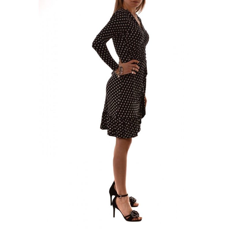 MICHAEL BY MICHAEL KORS - Bone Long Sleeves Dress - Black/Bone