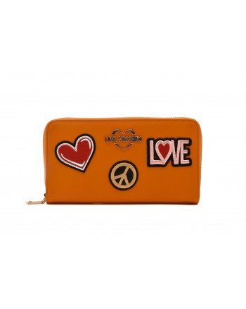 LOVE MOSCHINO - Portafogli Zip Around con Patches - Senape