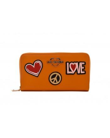 LOVE MOSCHINO - Portafogli Zip Around con Patches - Senape