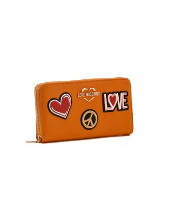 LOVE MOSCHINO - Zip Around Wallet with Patches - Mustard