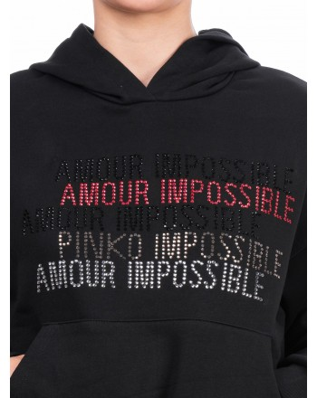 PINKO - Cotton sweatshirt with rhinestone decoration - Black