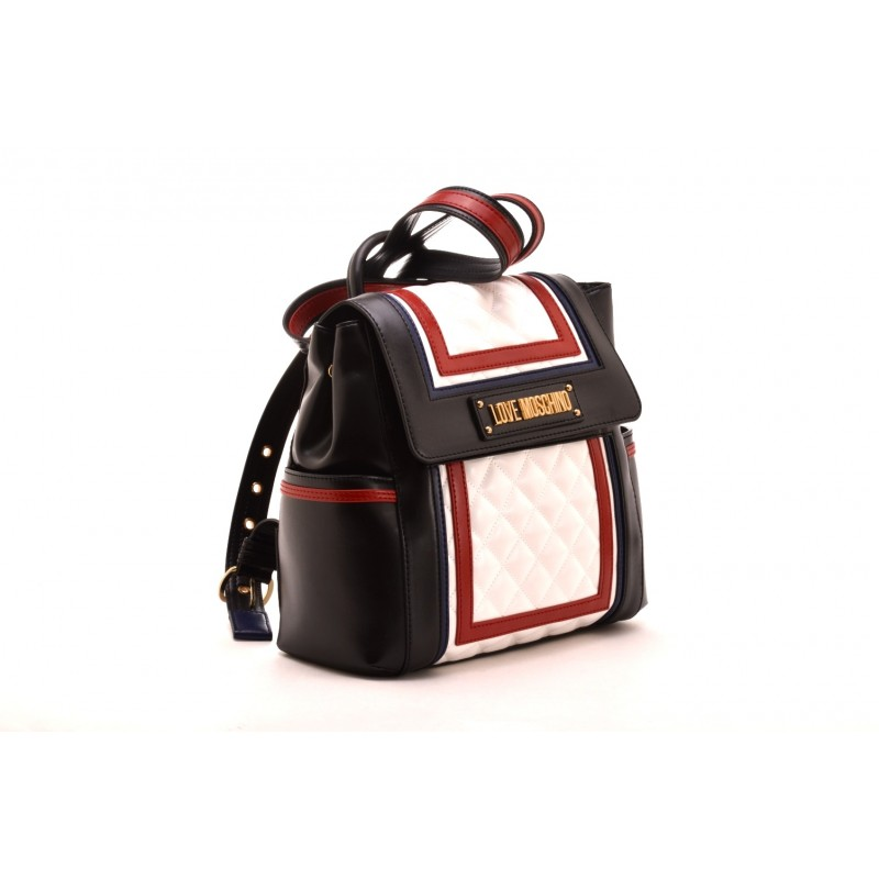 LOVE MOSCHINO - Quilted Backpack -White/Red/Blue