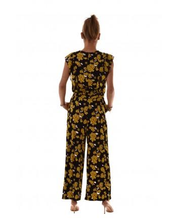 MICHAEL BY MICHAEL KORS - Sleeveless viscose jump suit - Black/Yellow