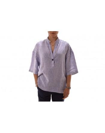 FAY -  Striped linen shirt - White/Blue