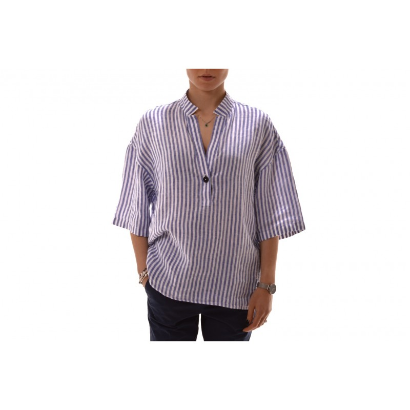 FAY - Camicia in lino a righe - Bianco/Blu