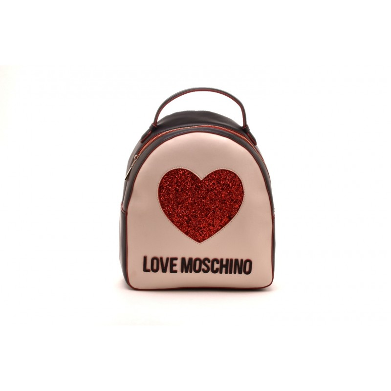 LOVE MOSCHINO - Front Heart Backpack - Black/Ivory