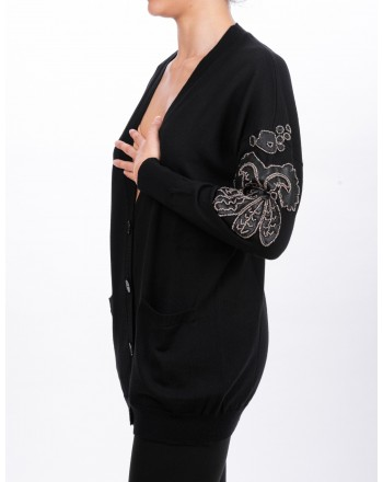 PINKO - BOUVARDIA cardigan in wool - Black