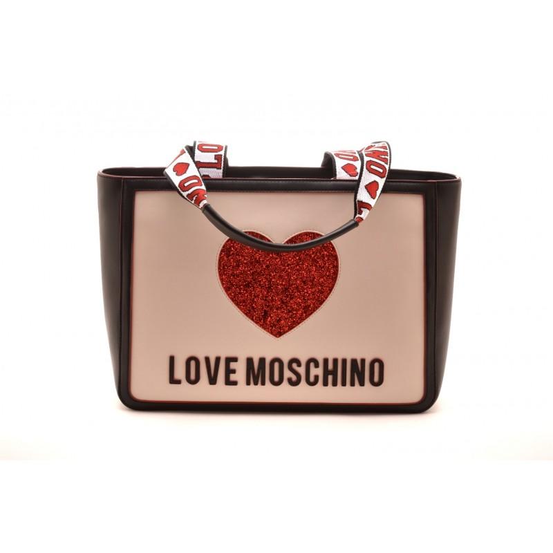 LOVE MOSCHINO - Borsa con Cuore e Manici Logati - Nero/Bianco