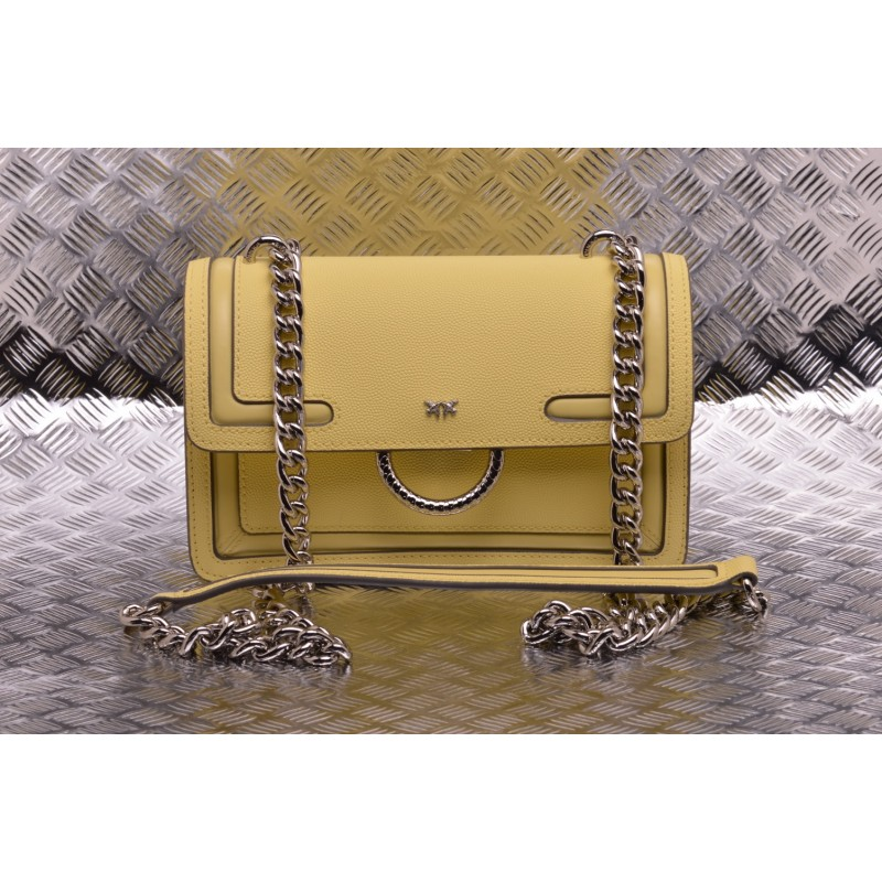 PINKO - Borsa  LOVE NEW in pelle - Yellow