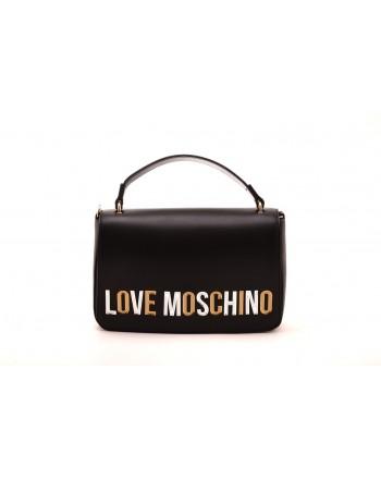 LOVE MOSCHINO - Shoulder bag with laminated logo - Black