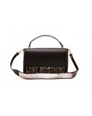 LOVE MOSCHINO - Borsa a spalla con logo laminato - Nero