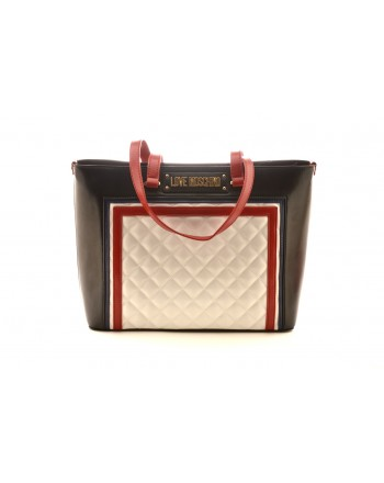 LOVE MOSCHINO - Shopping Bag with Logo -White/Red/Black