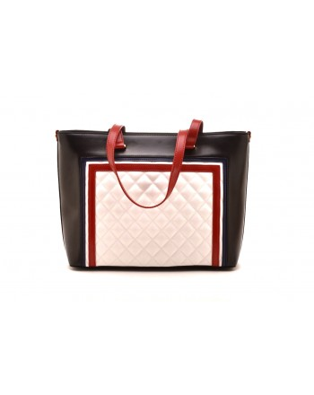 LOVE MOSCHINO - Borsa Shopping con Logo - Bianco/Rosso/Nero