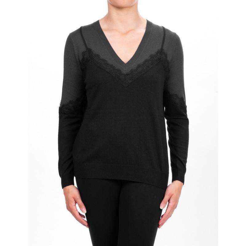 PINKO - Alyssa Knit in mixed cashmere - Black/Grey/Melange