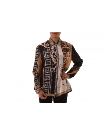 VERSACE COLLECTION - Camicia in seta con stampa - Nero/Stampa