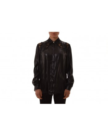 VERSACE COLLECTION - Camicia in seta con ricamo - Nero