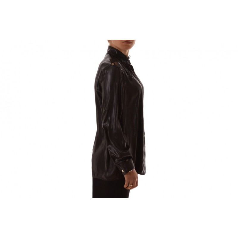 VERSACE COLLECTION - Silk shirt with lace - Black
