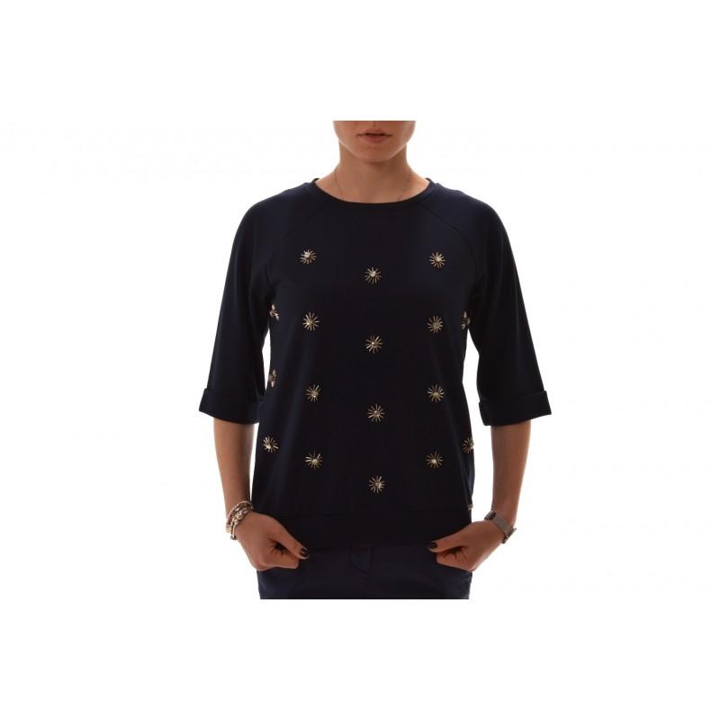 FAY - Jeweled viscose sweatshirt - Blue