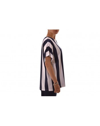 FAY -  Striped cotton T-shirt - Blue/White
