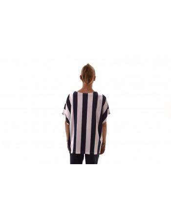 FAY - T-Shirt in cotone a righe - Bianco/Blu