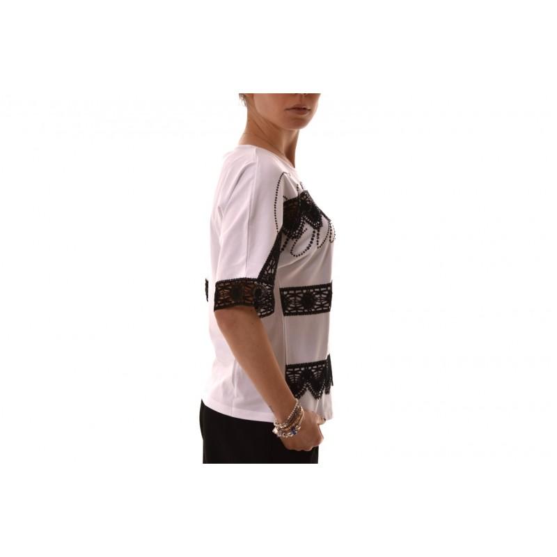 BLUMARINE - T-Shirt in cotone con pizzo e strass - Bianco/Nero