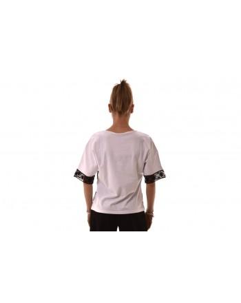 BLUMARINE - Cotton T-Shirt with lace and strass - Bianco/Nero