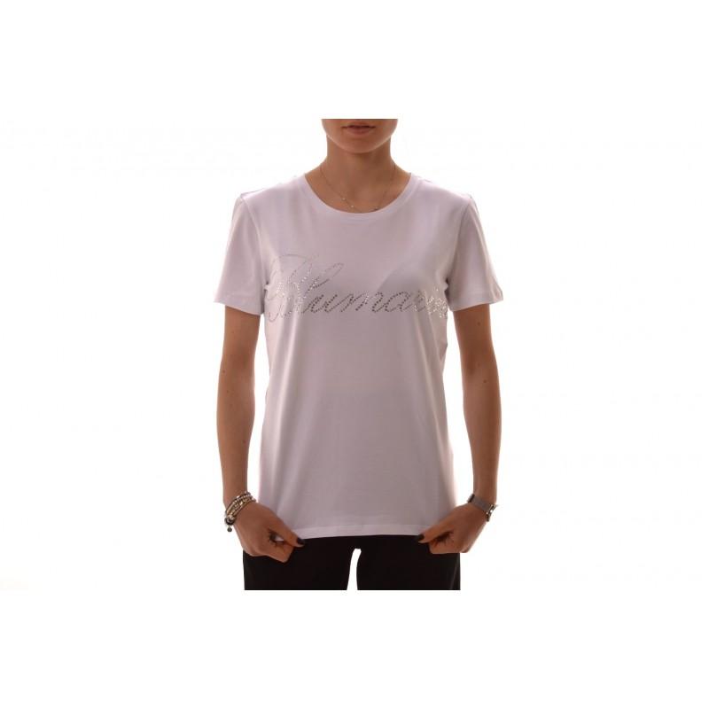 BLUMARINE - Stretch cotton T-Shirt with strass - white