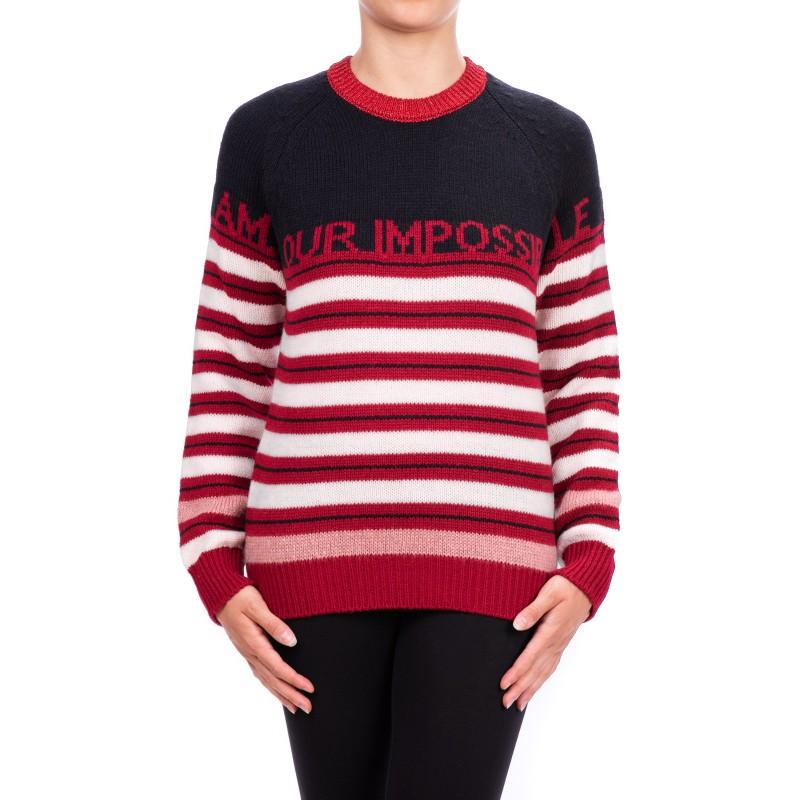 PINKO -Striped Wool Tonic Jersey - Black/white/red