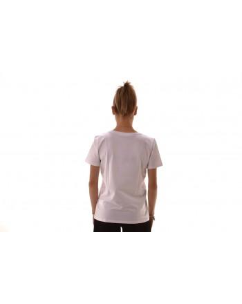 BLUMARINE - T-Shirt in cotone elasticizzato con strass - Bianco
