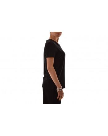 BLUMARINE - T-Shirt in cotone elasticizzato con strass - Nero