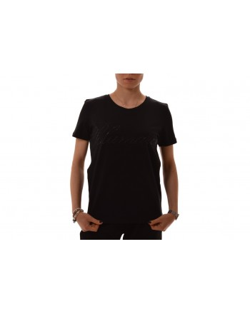 BLUMARINE - Stretch cotton T-Shirt with strass - Black