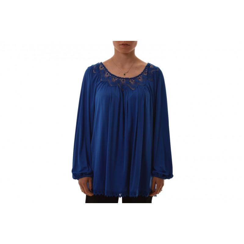 BLUMARINE - Viscose blouse with lace detail - Blue