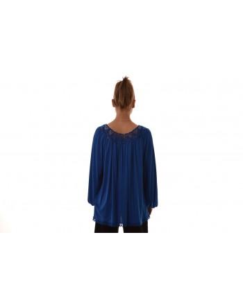 BLUMARINE - Blusa in viscosa con dettaglio in pizzo - Bluette
