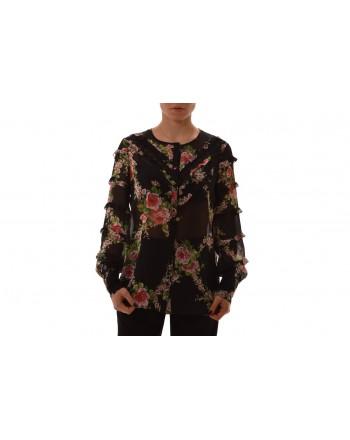 BLUMARINE - Camicia in seta e pizzo - Nero