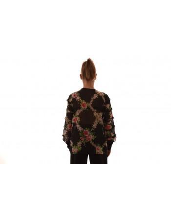 BLUMARINE - Silk and lace shirt - Black