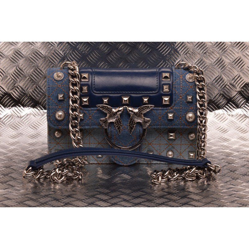 PINKO - LOVE BAG Jeans in leather and denim - Light blue