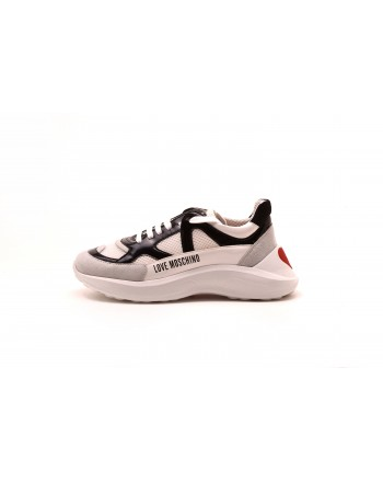 LOVE MOSCHINO - LOVE eco-leather sneakers - White/Black