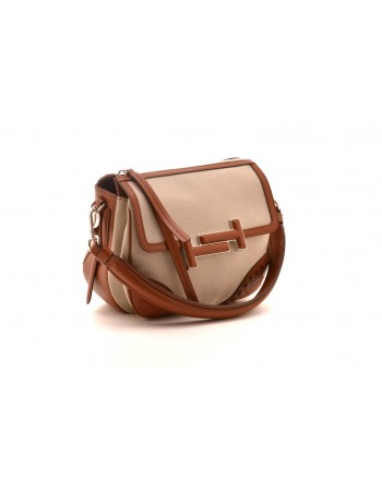 TOD'S - Leather Double T Mini Shoulder Bag - Natural/Leather