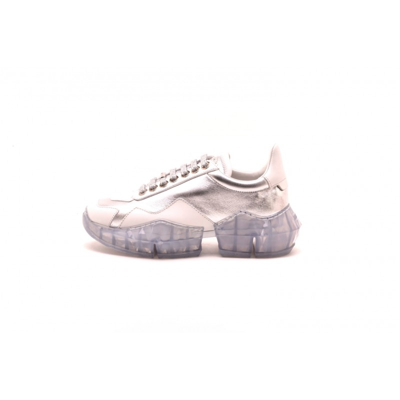 JIMMY CHOO - Sneakers DIAMOND in pelle - Silver/Bianco