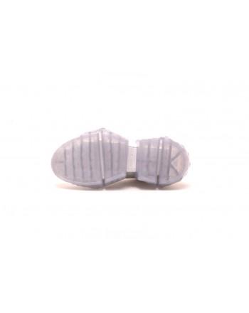 JIMMY CHOO - Sneakers DIAMOND in pelle - Silver/Bianco