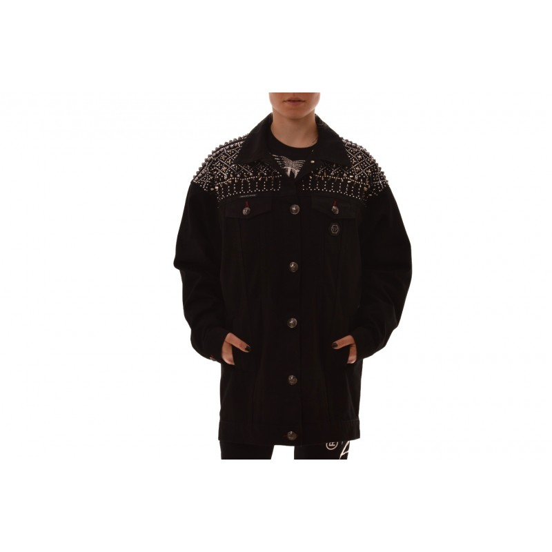PHILIPP PLEIN - Jacket with studs and rhinestones - Denim