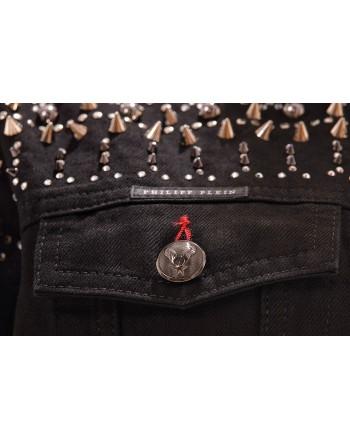 PHILIPP PLEIN - Giubbino con borchie e strass - Denim
