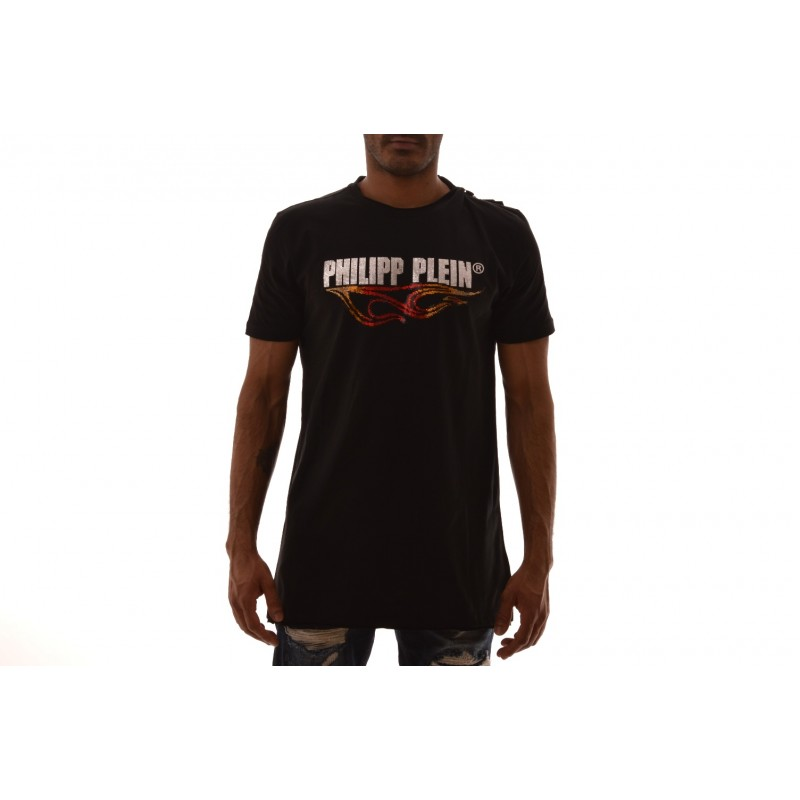 PHILIPP PLEIN - Cotton T-Shirt with print- Black