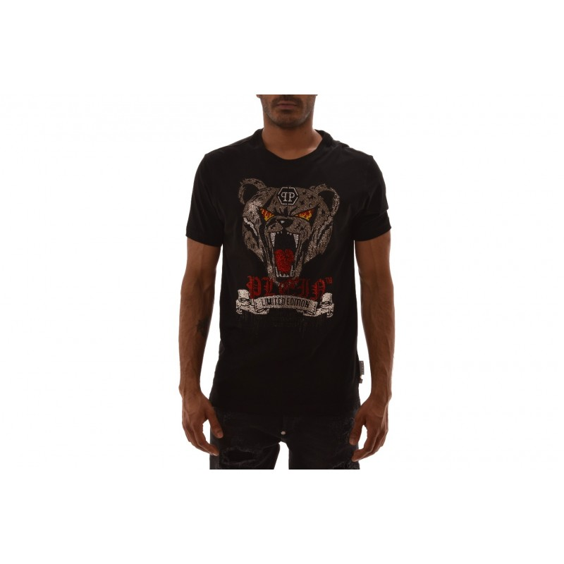 PHILIPP PLEIN - Cotton T-Shirt with cristals - Black