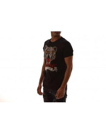 PHILIPP PLEIN -  T-Shirt in cotone con cristalli  -  Nero