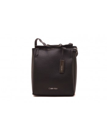 CALVIN KLEIN - Leather backpack - Black