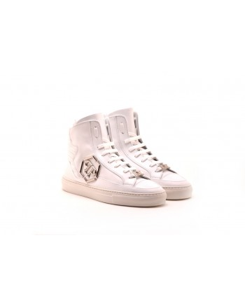 PHILPP PLEIN - Leather sneakers with metal Logo - Bianco