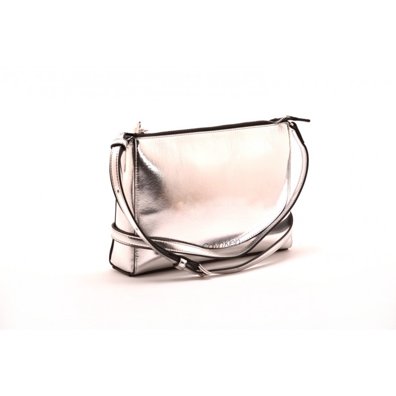 CALVIN KLEIN - Metal effect leather bag - Silver